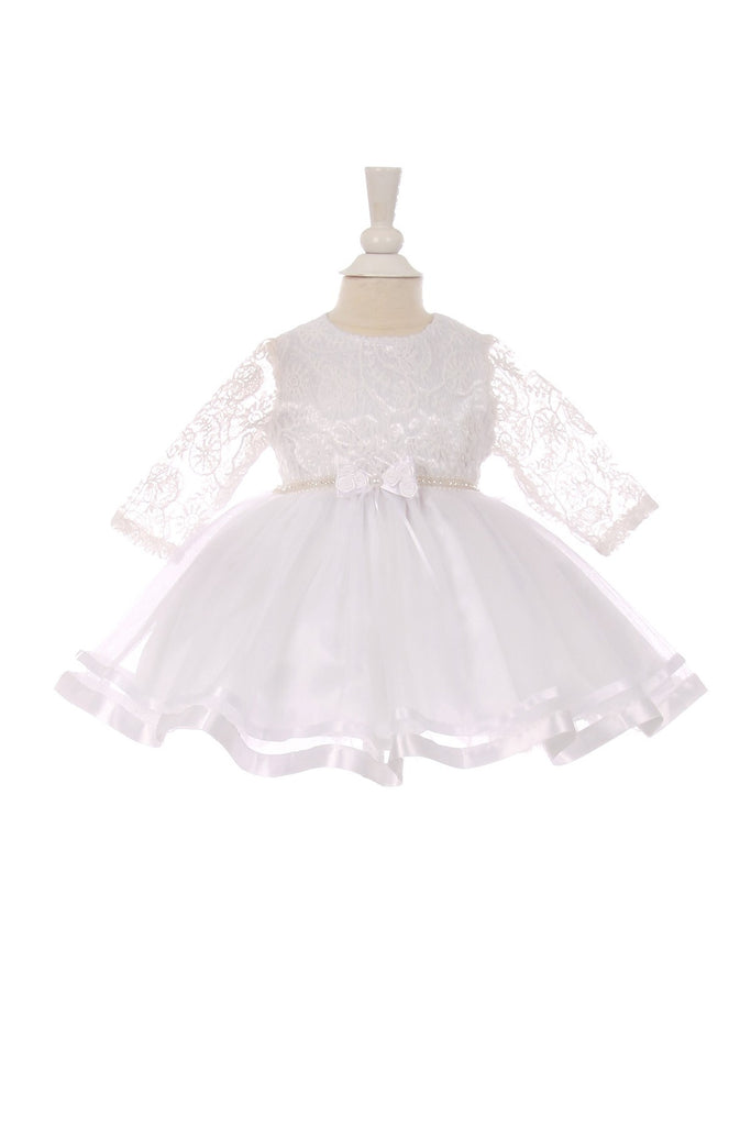 7aa01a71b11 ... CinderellaCouture-CC5016B-Elegant long sleeve lace baby dress with tulle  skirt ...