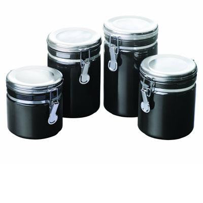 4pc Black Ceramic Canister Set - Anchor Hocking - 03923MR - Humble Brothers