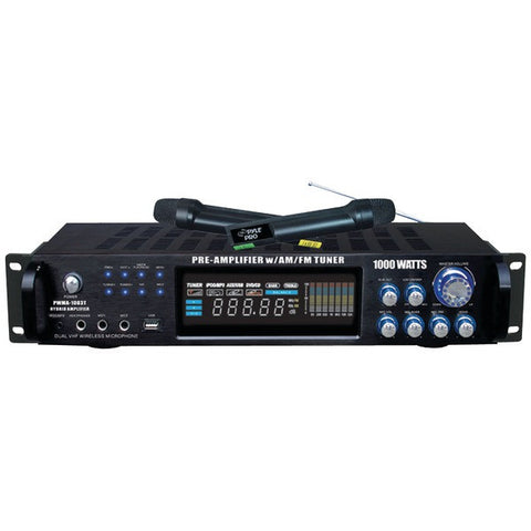 1,000-Watt Hybrid Preamp & Wireless Microphone System - PYLE PRO - PWMA1003T - Humble Brothers