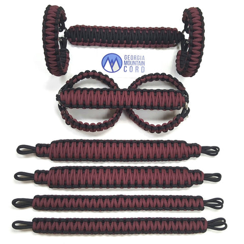 Paracord Grab Handles Roll-Bar Mount Full Set Jeep JK/JKU in Burgundy (Maroon)