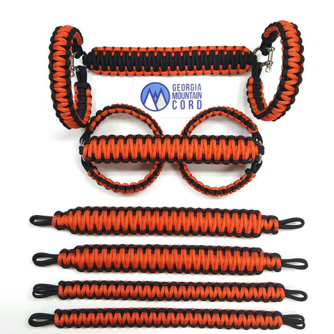 Paracord Grab Handles Roll-Bar Mount Full Set Jeep JK/JKU in International Orange
