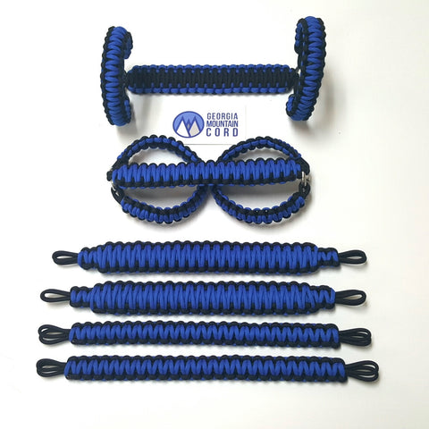 Paracord Grab Handles Roll-Bar Mount Full Set Jeep JK/JKU in Royal Blue