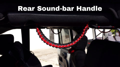 Paracord Grab Handles Set + Headrest or Rear Sound-bar Jeep JK 2-door or JKU 4-door Gunmetal Gray