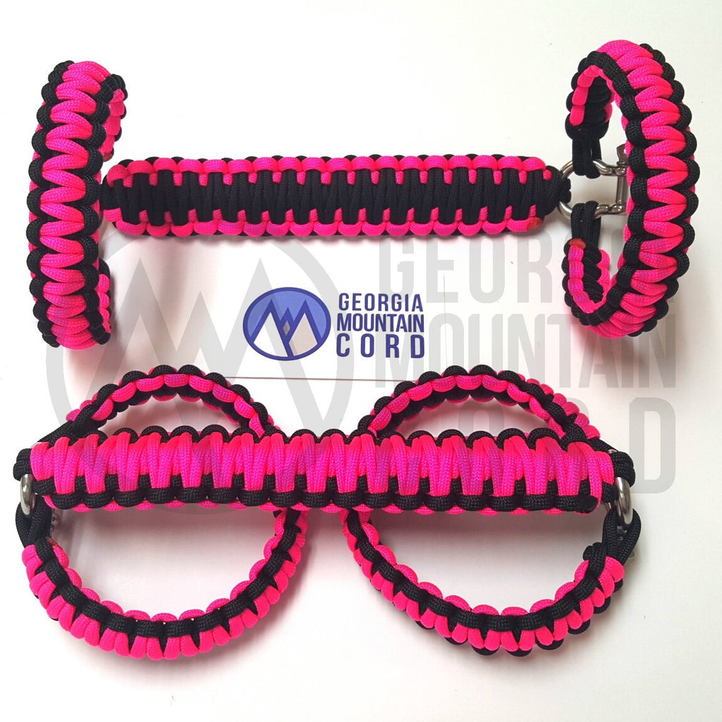 Paracord Front Grab Handles Roll-Bar Mount for Jeep Wrangler JK Neon Pink