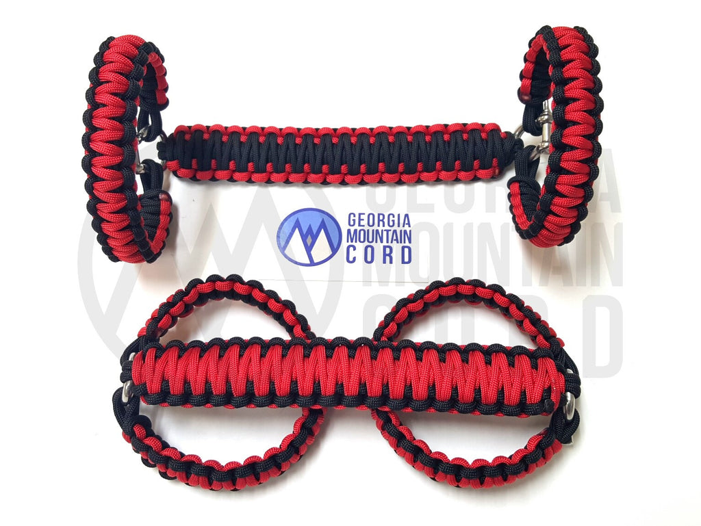 Paracord Front Grab Handles Roll-Bar Mount for Jeep Wrangler TJ Imperial Red