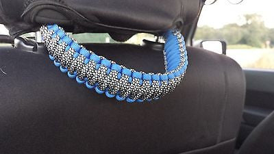 Paracord Grab Handles Set + Headrest or Rear Sound-bar Jeep JK 2-door or JKU 4-door Carolina Blue