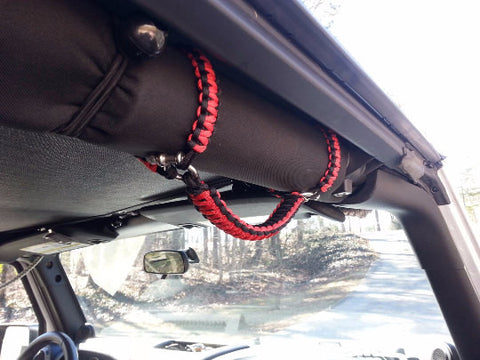 Paracord Grab Handles Roll-Bar Mount Full Set Jeep JK/JKU in Thin Red Line