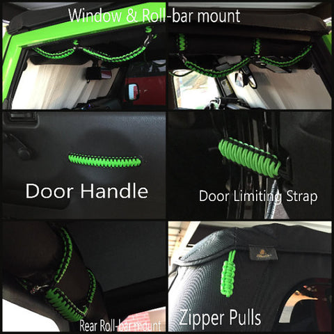Prarcord Grab Handle set for a Jeep Wrangler TJ: Super Set in Neon Green