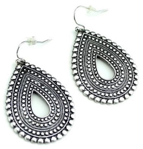 Wyo-Horse Silver Bohemian Teardrop Earrings - Outback Western Wear