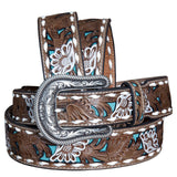 Nocona Women's Tan Turquoise Painted Flower Western Belt - Outback Western Wear