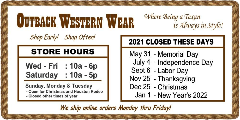 Outback Western Wear Store Hours & Holidays