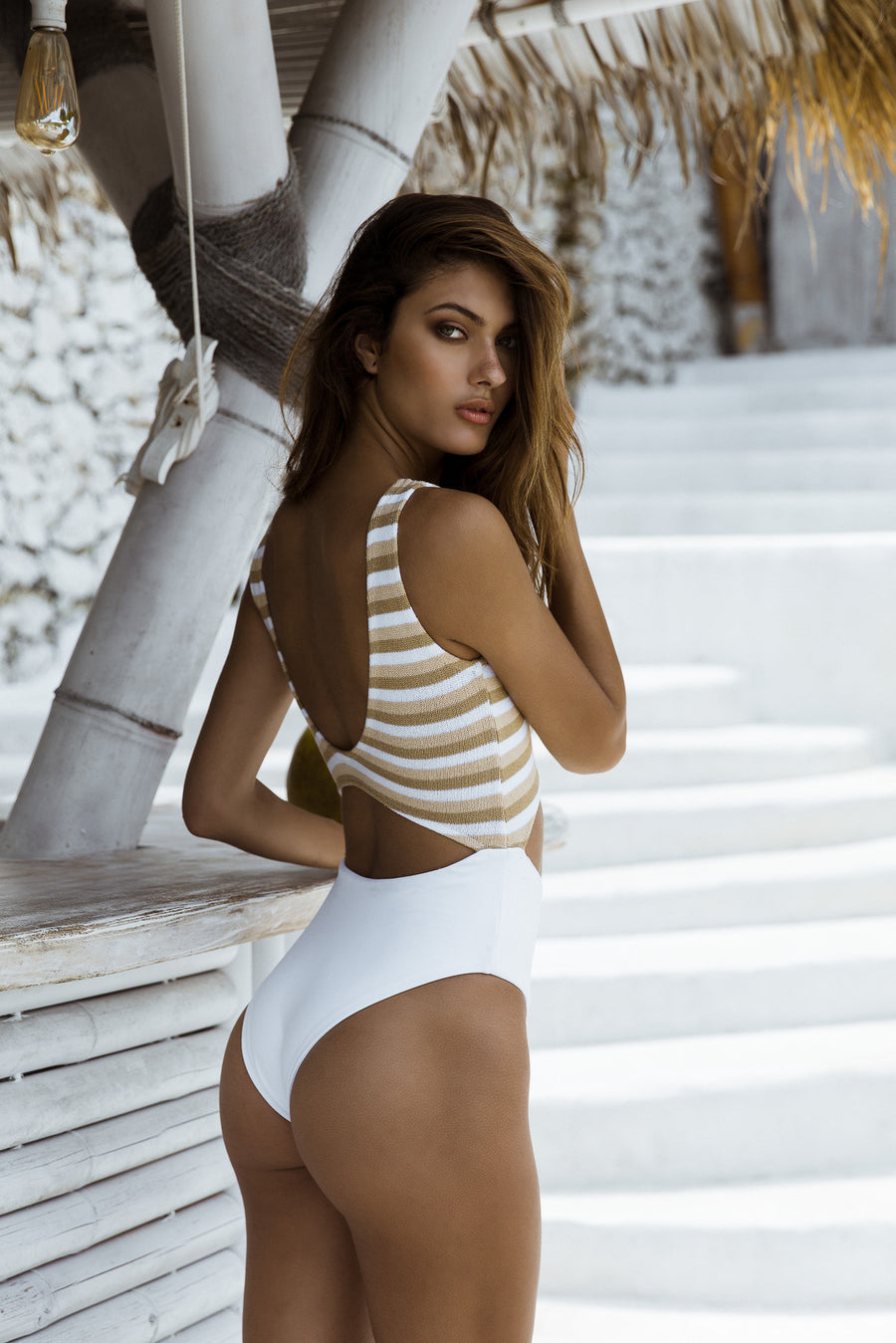 Mai Mai One Piece - Mocha/White Stripe