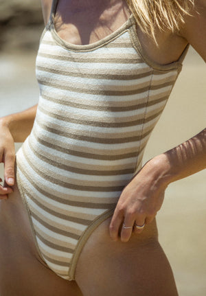 Mocha Stripe Missy One Piece
