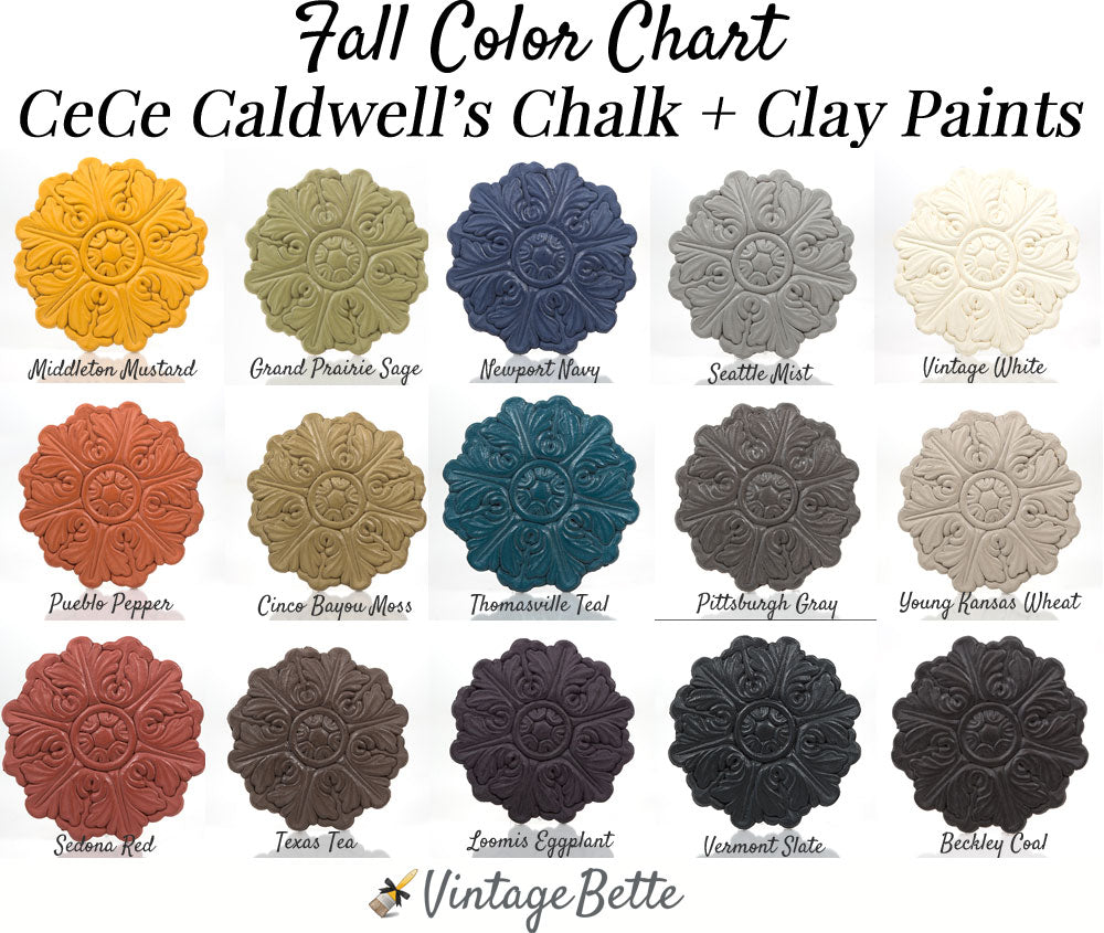 Cece caldwells chalk clay paints color chart by vintage bette cece caldwells chalk clay paints fall color chart by vintage bette geenschuldenfo Gallery