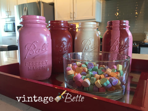 V Day painted mason jars with CeCe Caldwell's Chalk + Clay paints from Vintage Bette
