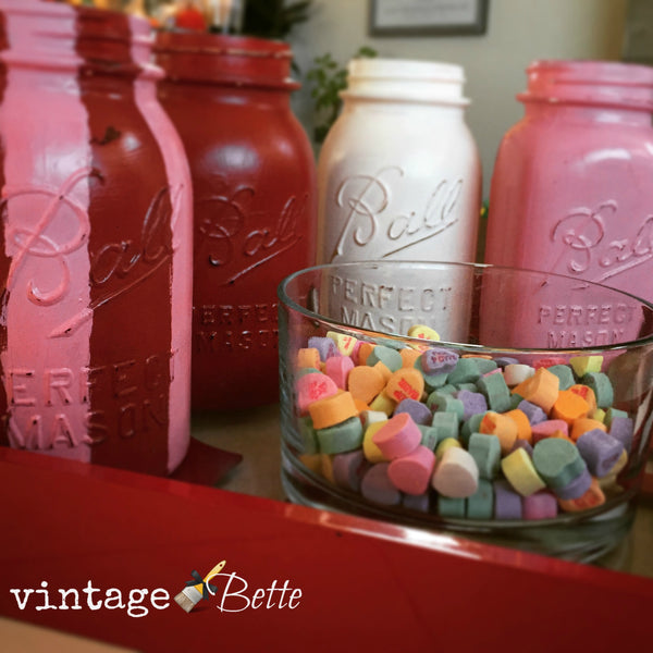 easy diy valentine's day decor with vintage mason jars and cece caldwell's paints in co