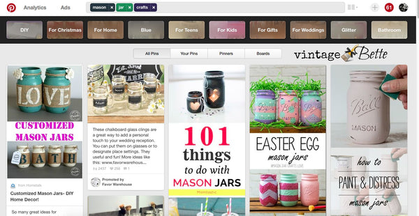 Pinterest screen shot for Easy DIY Valentine's Day Decor with Mason Jars and CeCe Caldwell's