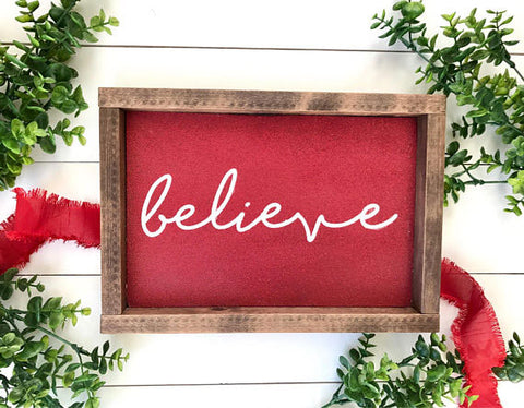paint a 'believe' sign for your christmas decor with cece's paints from vintage bette