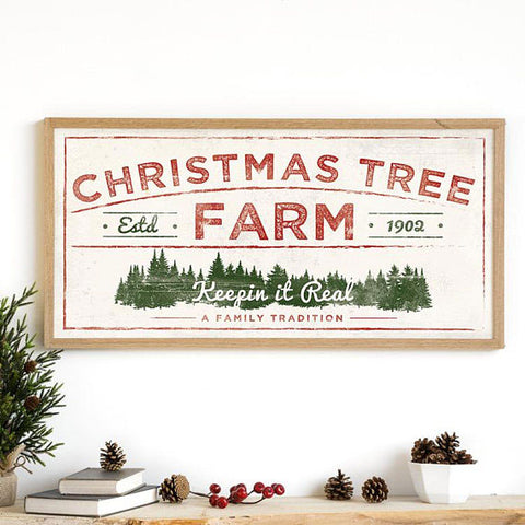 christmas tree farm sign hand painted with cece caldwell's paints from vintage Bette