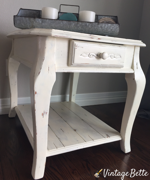 farmhouse end table with vintage white by cece's