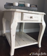 side table painted with cece's paints and finished with wood shield matte varnish