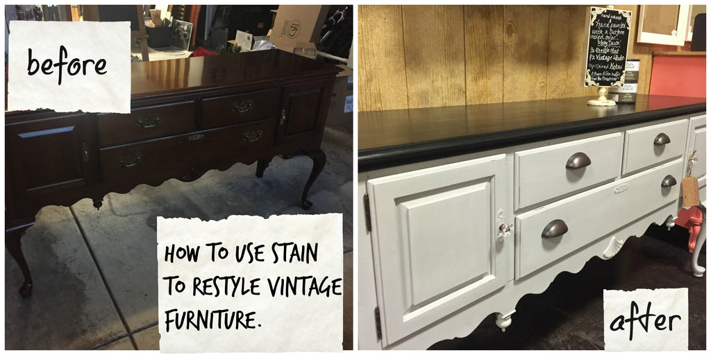 how to use CeCe Caldwell's Stain & Finish to restyle and update vintage furniture