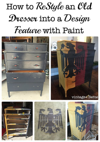 ReStyle an old vintage dresser with chalk + clay paint and make it a design feature