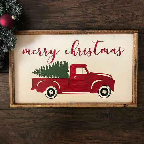 paint a red truck sign for your holiday decor with cece caldwell's chalk + clay paints