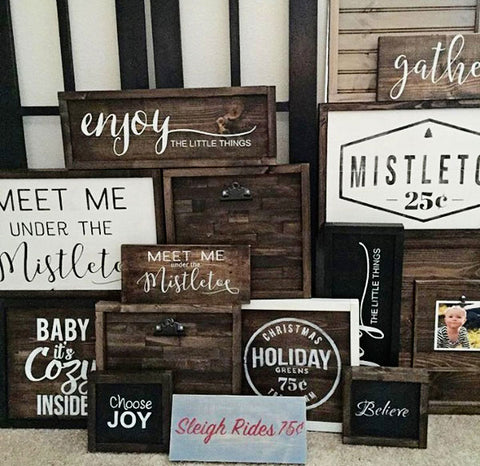 several holiday signs to inspire a diy of your own with cece's paints from vintage bette