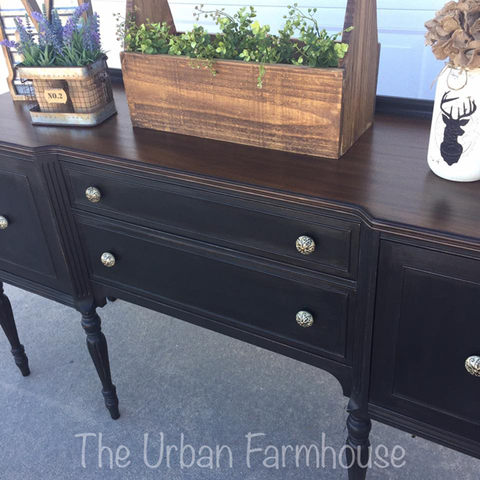 cece caldwell's beckley coal on a restyled ethan allen buffet by urban farmhouse co