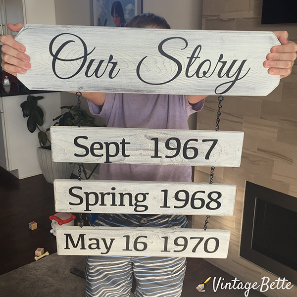 Our Story important dates sign