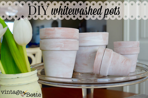 white washed terra cotta pots using Dover White Wash by CeCe's Paints from Vintage Bette