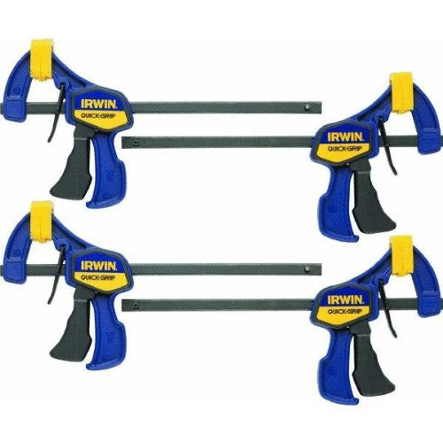 6-Inch, 4-Pack, Irwin Tools 5464 Quick Grip One-Handed Mini Bar Clamp