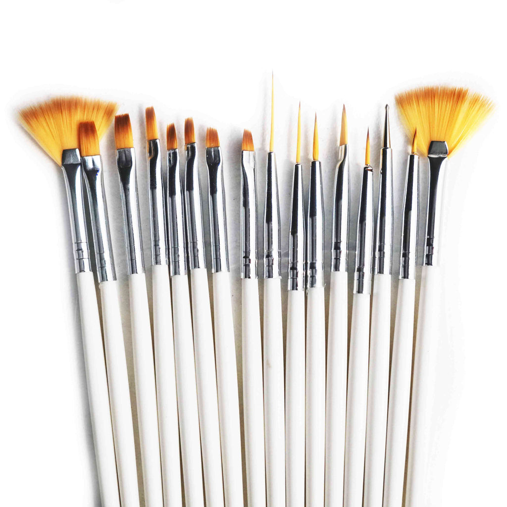 15pc Nail Art Brush Set (BLACK)