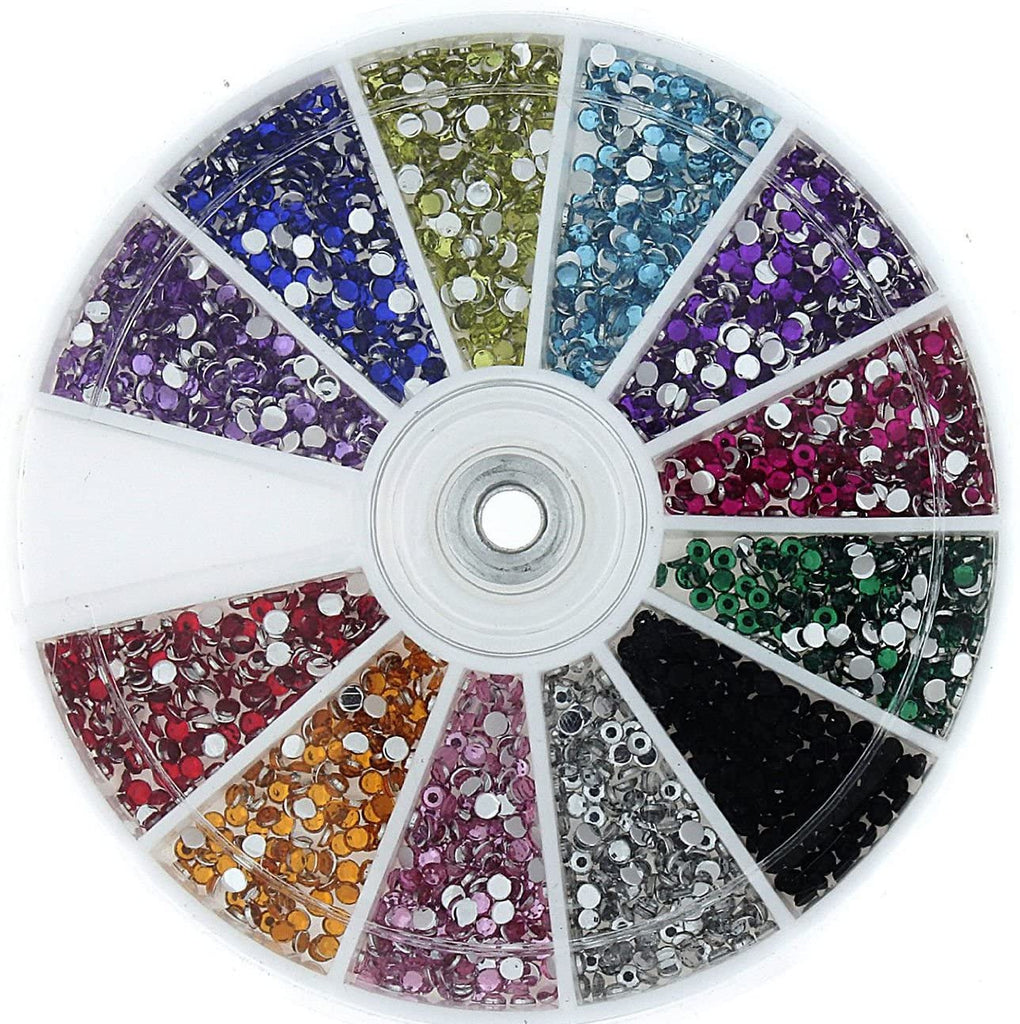 120 pc Nail Art Wheel Variety Sz Gems