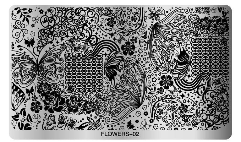 Floral Stamping Plate (flower 02) Large