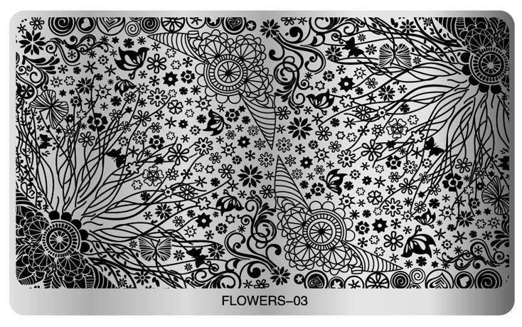 Floral Stamping Plate (flower 03) Large