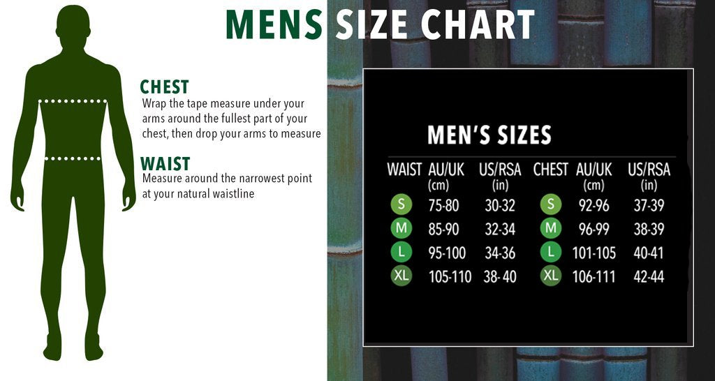 Boody Men's Size Guide