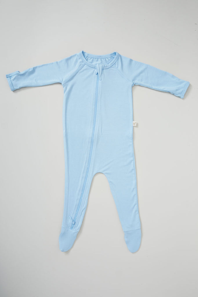 Blue Baby Long Sleeve Onesie - Boody Baby Organic Bamboo Eco Wear
