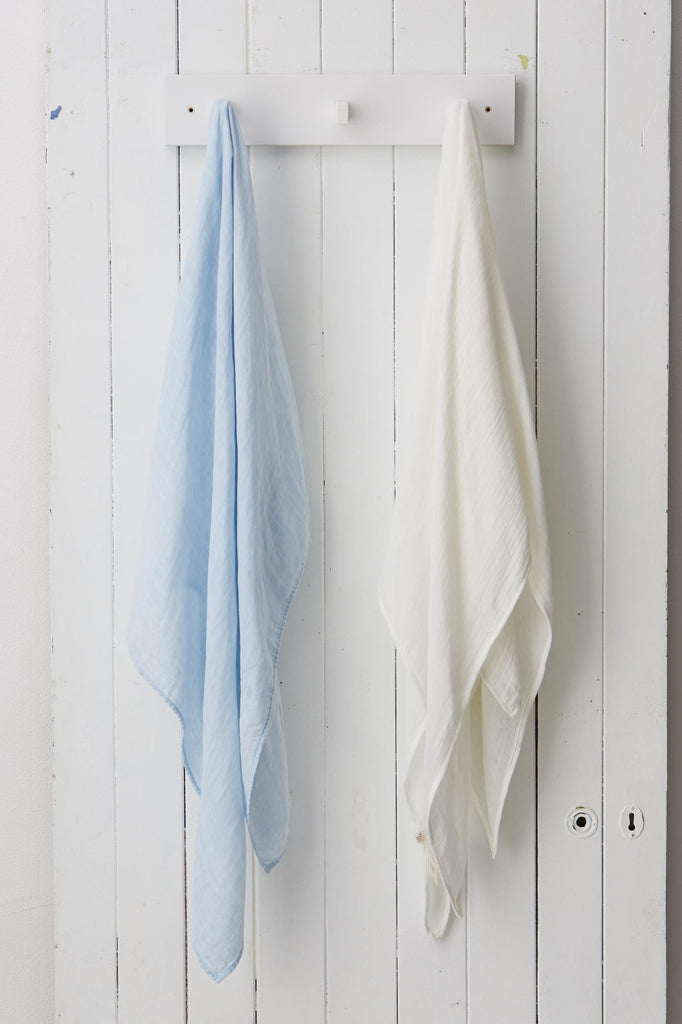 Muslin Baby Wrap Blue and Neutral - Boody Baby Organic Bamboo Eco Wear