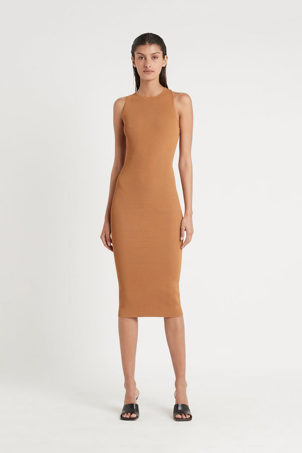 SIR. Jasper Cut Out Dress - Camel