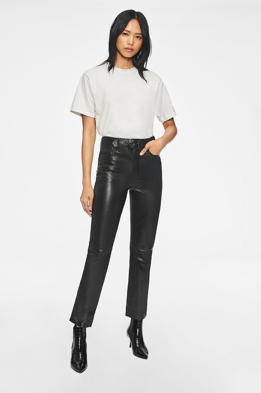Anine Bing Connor Leather Pant - Black