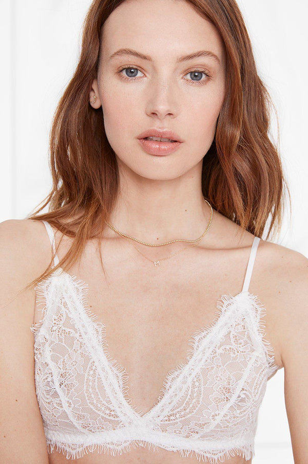 Anine Bing Lace Bra with Trim - Ivory