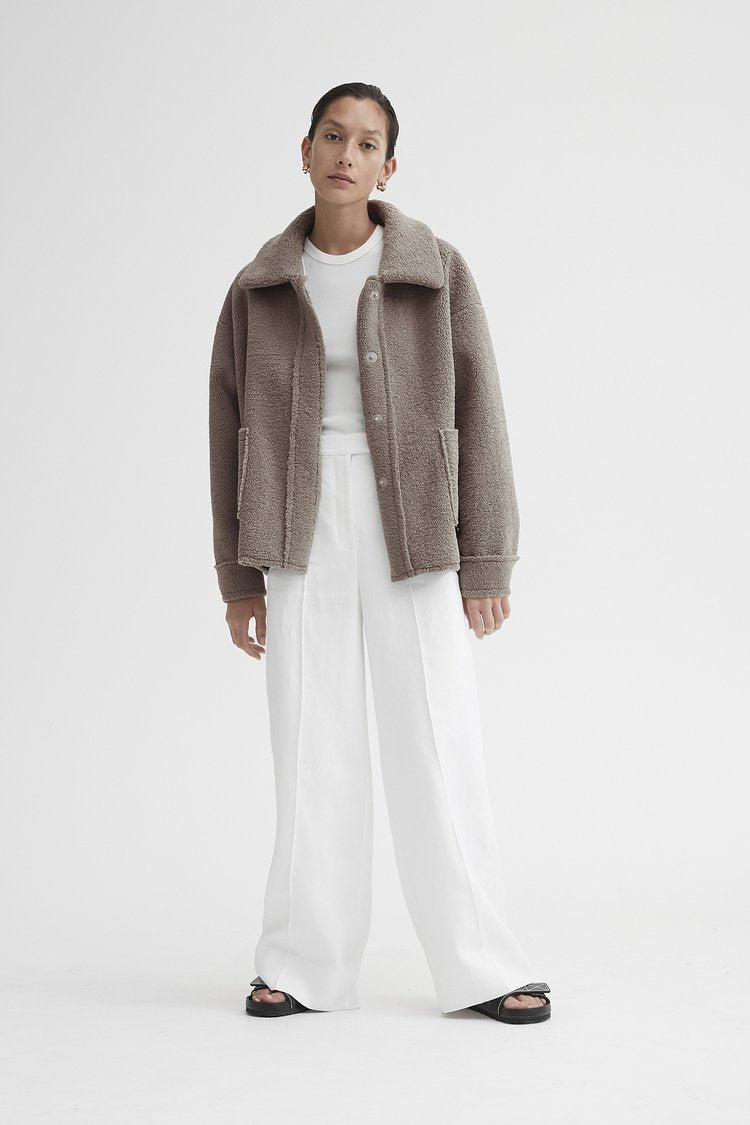 Friends with Frank Mimi Jacket - Light Brown Faux Shearling