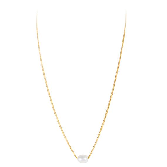 Fairley Mini Pearl Teardrop Necklace - Gold