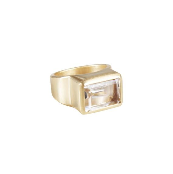 Fairley Crystal Cocktail Ring - Gold