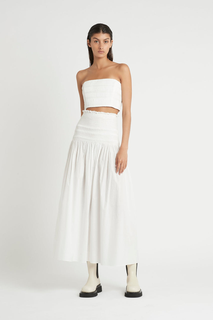 SIR. Cecil Smocked Maxi Skirt - Ivory