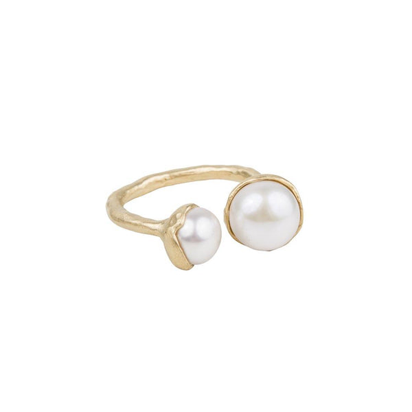 Fairley Double Pearl Ring - Gold