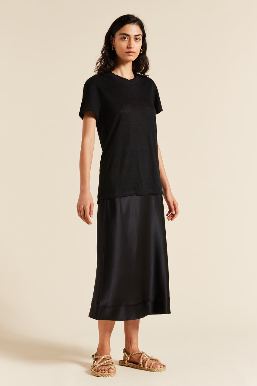 Lee Mathews Tilly Linen Jersey Tee - Black