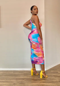 Multi-Color One Shoulder Dress